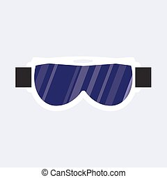 Black and white skiing, snowboarding mask, goggles, protective eyewear