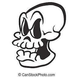 black and white skull - black and white cartoon skull