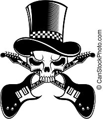 black and white skull with electric guitars