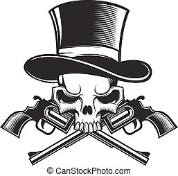 skull with guns - black and white skull with guns.