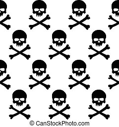 Black and white skulls background