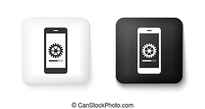 Black and white Smartphone update process with gearbox progress and loading bar icon isolated on white background. System software update and upgrade concept. Square button. Vector