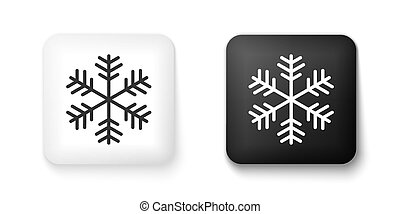 Black and white Snowflake icon isolated on white background. Square button. Vector
