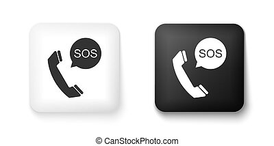 Black and white SOS call icon isolated on white background. 911, emergency, help, warning, alarm. Square button. Vector