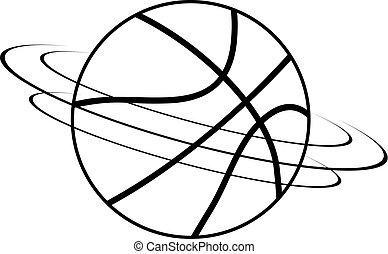 black and white spinning basket ball