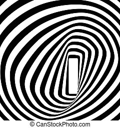 Black and white spiral optical illusion.