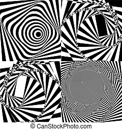 Black and white spiral tunnel. Vector
