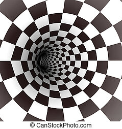 Black and white spiral tunnel. Vector illustration