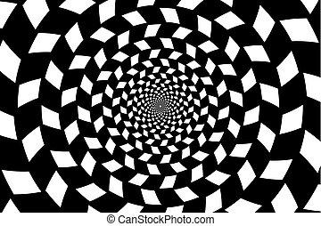 Optical illusion - chessboard swirl, - Black and white...
