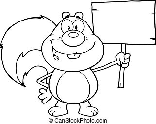 Black And White Cute Squirrel Cartoon Mascot Character ...