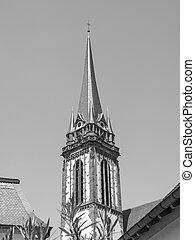 Black and white St Elizabeth church in Darmstadt