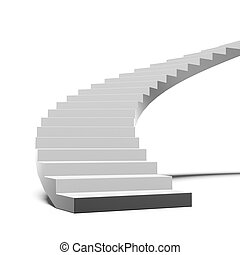 Black and white stair isolated on a white background