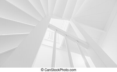 Black and white staircase in empty home