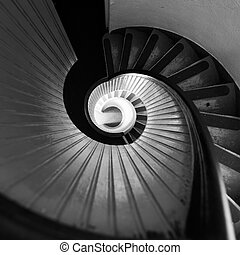 Black and White Staircase in Lighthouse