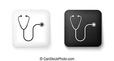 Black and white Stethoscope medical instrument icon isolated on white background. Square button. Vector