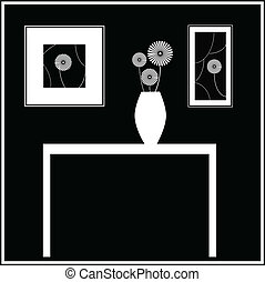 Black and White Still Life with table, flowers and wall...