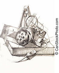 black and white still life objects study - artistic study of...