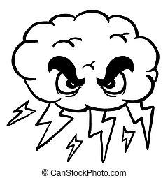 black and white storm cloud cartoon illustration