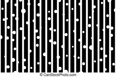 Black and white strip pattern with dots