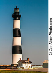 Black and white striped lighthouse at Bodie Island on the outer