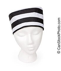 Black and White Striped Prisoner Hat