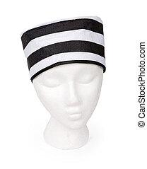 Black and White Striped Prisoner Hat