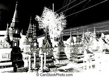 black and white stupa