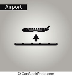 black and white style icon airplane takeoff - black and...