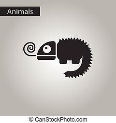 black and white style icon chameleon