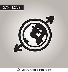 black and white style icon gays Earth symbol
