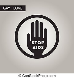black and white style icon gays Stop AIDS symbol