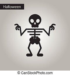black and white style icon halloween skeleton - black and...