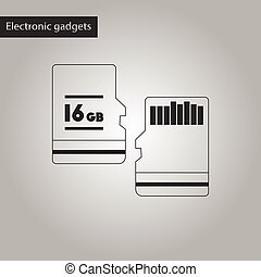 black and white style icon micro SD - black and white style...