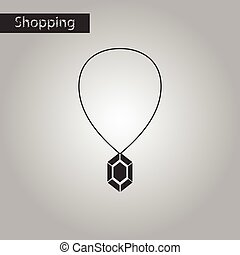 black and white style icon Necklace with precious stone