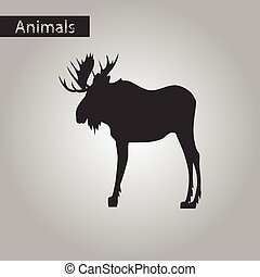 black and white style icon of Elk
