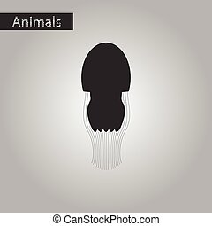 black and white style icon of jellyfish