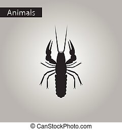 black and white style icon of lobster