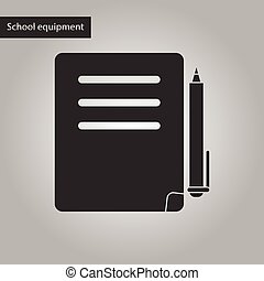 black and white style icon of notebook and pen