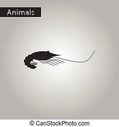 black and white style icon of shrimp