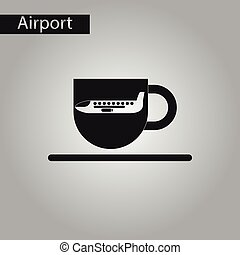 black and white style icon plane cup