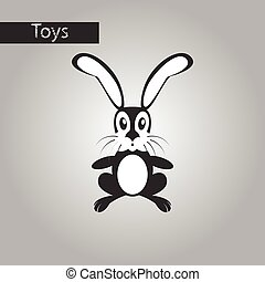 black and white style icon Toy hare
