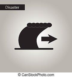 black and white style icon tsunami movement - black and...