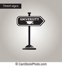 black and white style icon University sign
