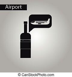 black and white style icon wine plane