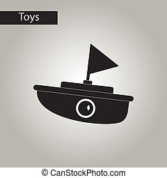 black and white style toy boat