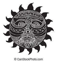Black and white Sun illustration on white background
