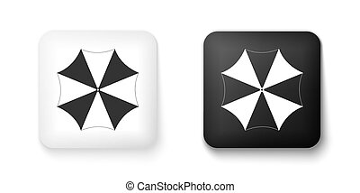 Black and white Sun protective umbrella fo beach icon isolated on white background. Large parasol for outdoor space. Summer vacation or picnic accessory. Square button. Vector