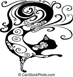 Black and white, surreal, fantastic silhouette decorative cat, i