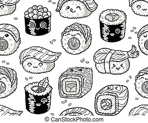 Black and white sushi and sashimi seamless pattern in kawaii style.