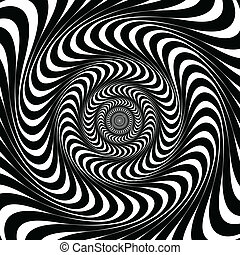 Black and white swirl lines. Optical illusion background, vector.